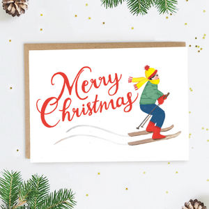 Vintage Skier Christmas Card - cards & wrap
