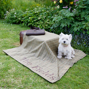 Personalised Tweed Picnic Blanket - personalised