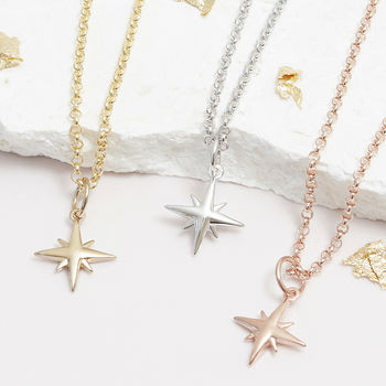 Tiny Star Necklace In Silver, Gold Or Rose