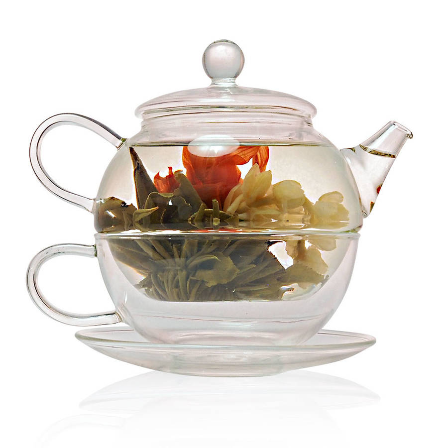 flowering tea for one gift set with glass teapot by the exotic teapot. Black Bedroom Furniture Sets. Home Design Ideas