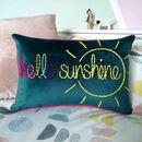 Hello Sunshine Embroidered Velvet Cushion