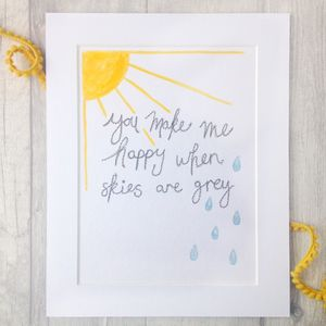 You Make Me Happy, Hand Painted And Embroidered Artwork - nature & landscape