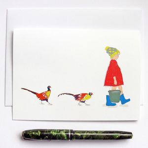 Girl Feeding Pheasants Greeting Card