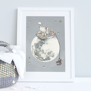 Personalised Picnic On The Moon Nursery Print