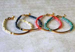 Children's Gold Tube Bracelet With Semi Precious Stones