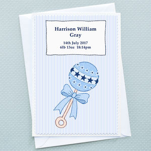 'Baby Boy Rattle' Personalised Baby Card