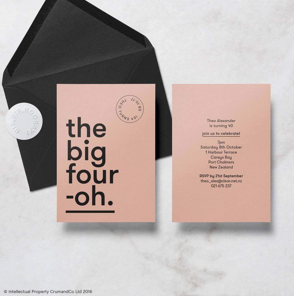 Modern Minimal 40th Birthday Invitations With Envelope