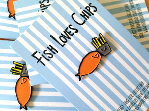 Fish And Chips Enamel Pin Badge