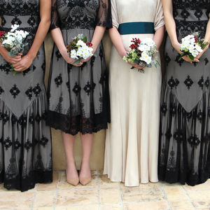 Black And Ivory Lace Bridesmaids Dresses - bridesmaid dresses