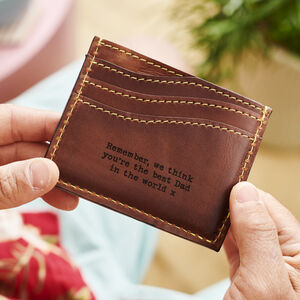 Personalised Leather Card Holder With Secret Message