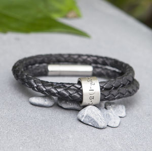 Personalised Black Wrapped Mens Leather Bracelet - bracelets