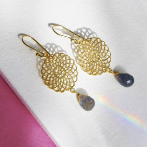Dreamcatcher Gemstone Earrings - earrings