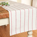 Cranberry Love Heart Striped Table Runner