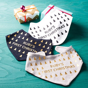 Personalised First Christmas Geometric Baby Bib - personalised gifts for babies