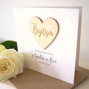 Personalised Baptism Wooden Heart Card