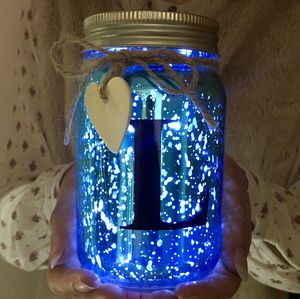 Light Up LED Monogram Jar - tins, jars & bottles