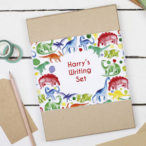 Personalised Dinosaur Children's Writing Set - winter sale
