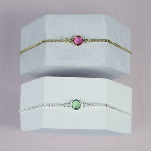 Personalised Skinny Birthstone Bracelet - wedding fashion