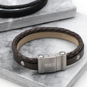 Mens Personalised Chunky Double Leather Bracelet