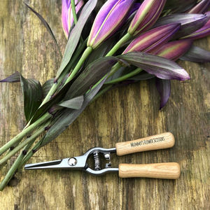 Personalised Wood Handled Flower Scissors