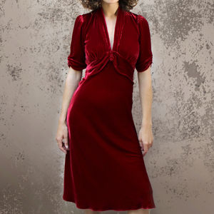 Deep Red Silk Velvet Midi Dress - sale