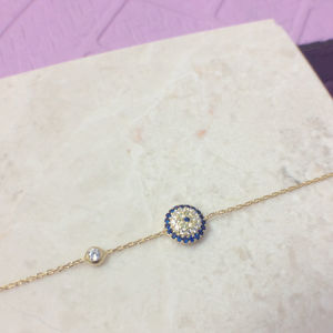 Evil Eye Bracelet 22ct Gold Dipped Sterling Silver - bracelets & bangles