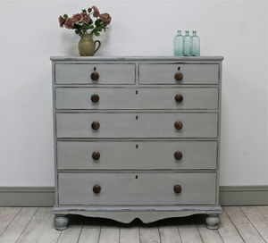 Grey Distressed Victorian Chest Of Drawers - furniture