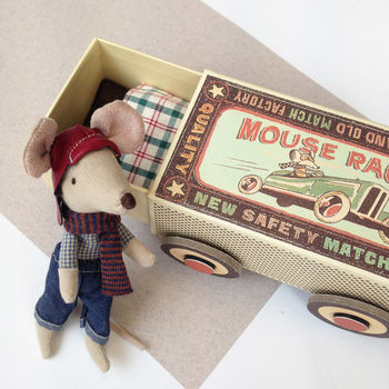Vintage Style Racer Mouse In Matchbox