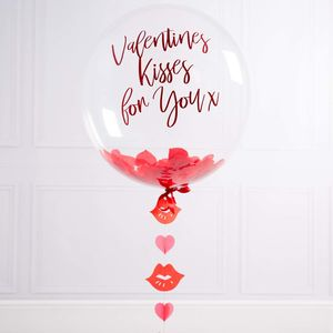 Personalised Valentines Kisses Confetti Balloon - bunting & garlands
