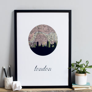 London Skyline Map Art Print - maps & locations