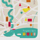 Map Of Hull City Of Culture 2017 Illustration Art Print