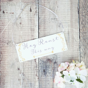 Personalised Botanical Wedding Arrow Sign - signs