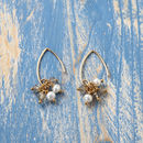 Labradorite And Pearl Gold Cluster Earrings