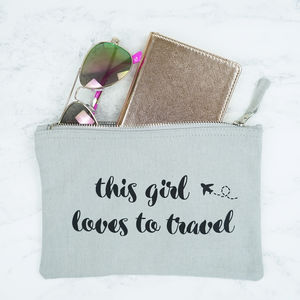 This Girl Loves To Travel Pouch - make-up bags