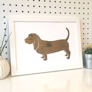Basset Hound Foil Dog Breed Silhouette