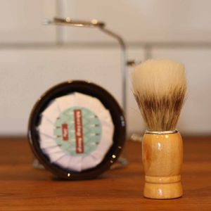 Men's Wooden Shaving Brush And Stand Gift Set