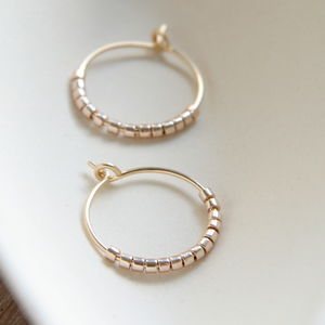 Petite Beads Hoop Earrings Five Colour Ways
