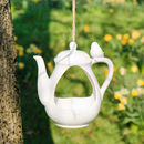 Ceramic Teapot Hanging Bird Feeder