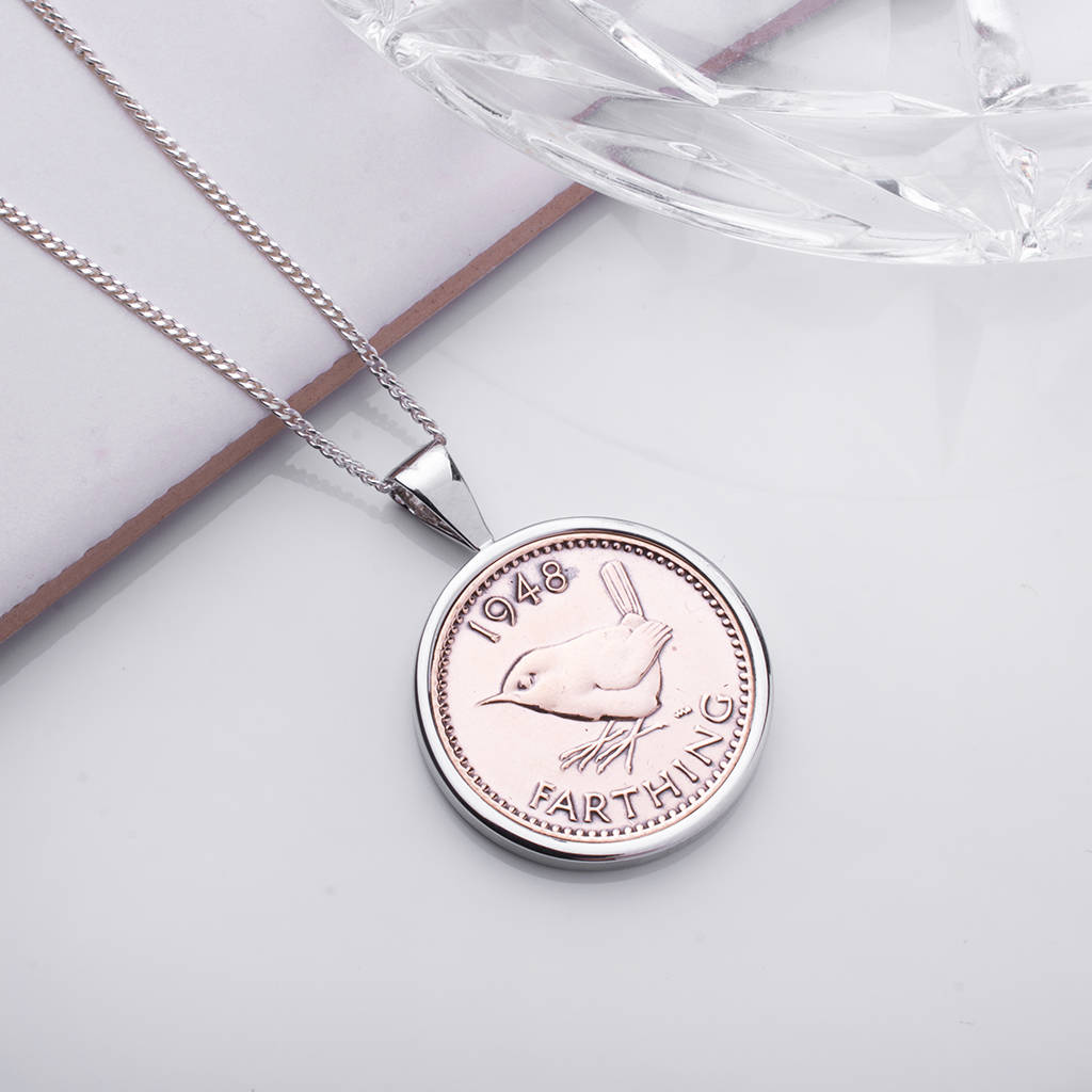 Farthing 1948 70th Birthday Coin Necklace