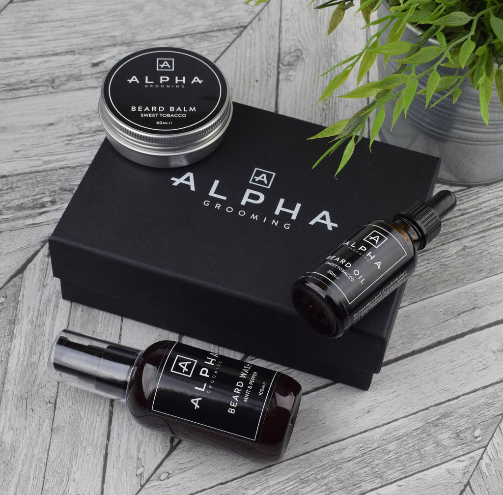 premium beard oil balm and beard wash gift set by alpha grooming. Black Bedroom Furniture Sets. Home Design Ideas