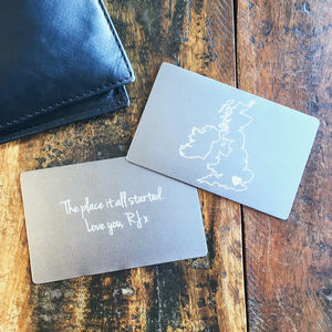 Personalised Map Wallet Keepsake Card - gifts for him