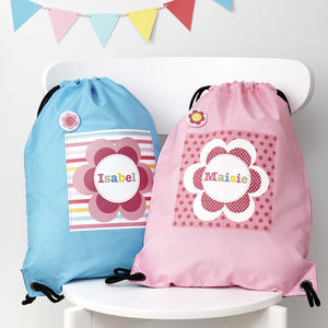 Girls Personalised Flower Waterproof Kit Bag