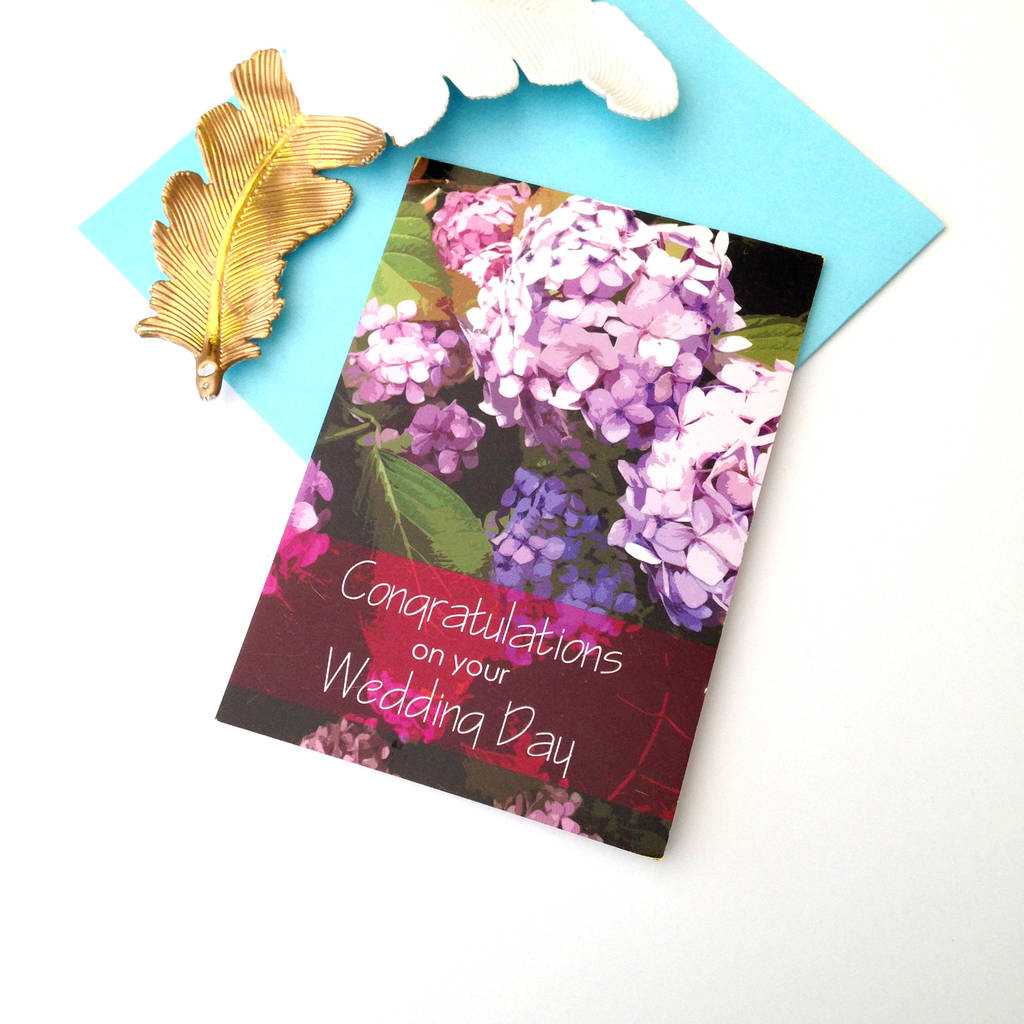 Congratulations On Your Wedding Day.Hydrangea Congratulations On Your Wedding Day Card By A Ring A Day