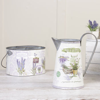 French Lavender Tin Planter And Jug Set