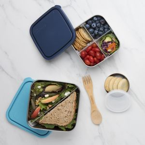 Divided Square Stainless Steel Containers - tins, jars & bottles