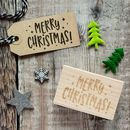 Merry Christmas Kitsch Style Rubber Stamp