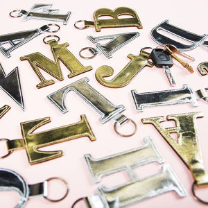 Alphabet Metallic Leather Key Ring