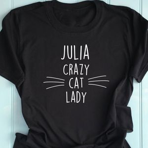 Personalised Crazy Cat Lady T Shirt
