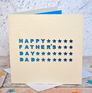Personalised Laser Cut Father's Day Star Card