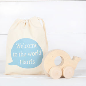 Boys Personalised Cotton Bag And Wooden Push Along Toy